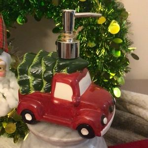 Truck with Christmas tree soap dispenser